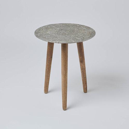 Aluminium & Mango Wood Side Table