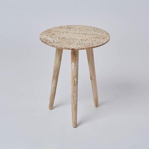 Mango Wood Side Table (White Antique)