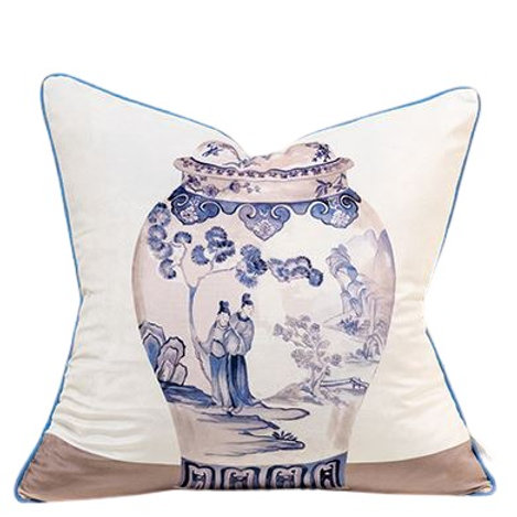 Velvet Cushion Cover (Blue & White Vases)