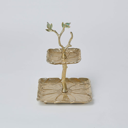 Flower 2 Tier Tray (Gold)