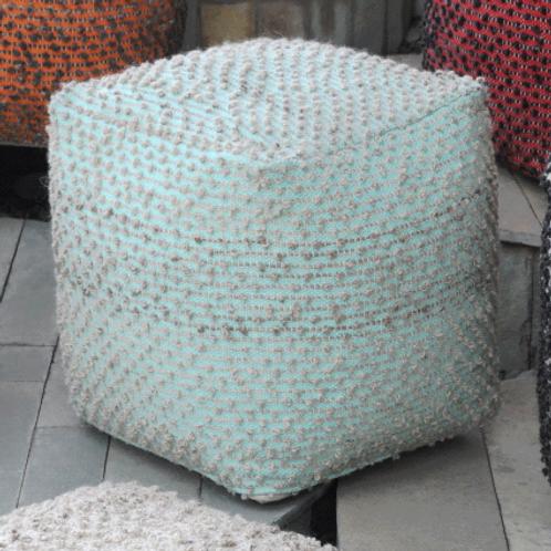 Block Pouf (Aqua&Beige)