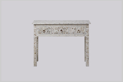 Mother of Pearl Inlay High Leg Console - White