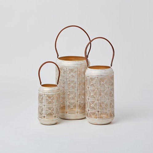 Cutwork Tealight Lantern (Gold & White)
