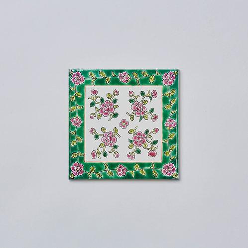 Hand-painted Porcelain Tile Trivet (Flowers with Green Border)