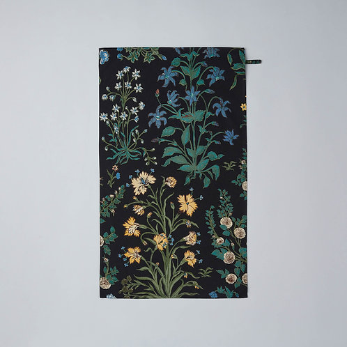 Cotton Tea Towel (Black Flowers)
