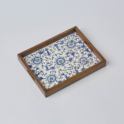 Hand-painted Porcelain Tray (Blue& White Flowers)