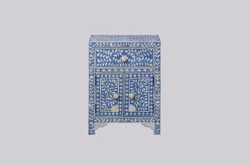 Bone Inlay Bedside Cabinet - Light Blue