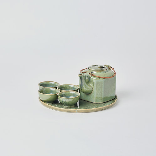 Hexagonal Teapot 6pc Set (Crystal Green)