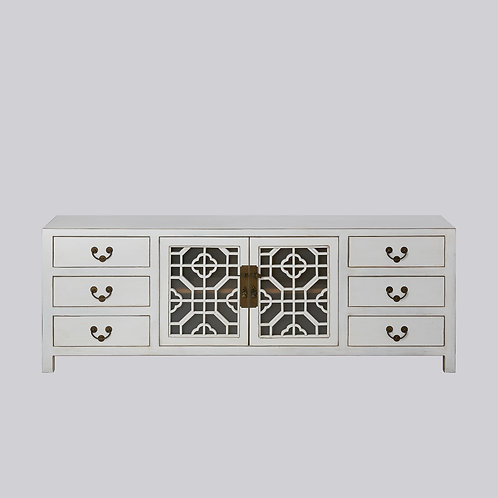 Lattice TV Console with Frosted Glass (White Antique)