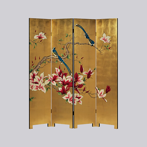 4 Panel Hand Painted Screen - Gold Red Magnolia