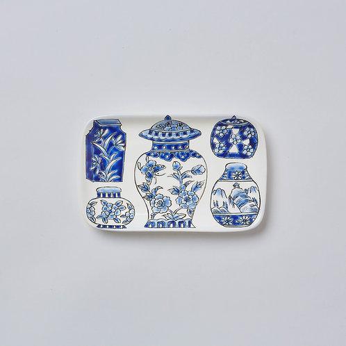 Hand-painted Porcelain Dish (Blue & White Vase)