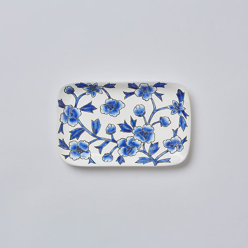 Hand-painted Porcelain Dish (Blue & White Flowers)