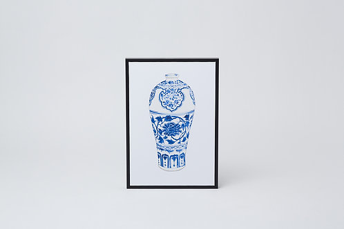 Framed Canvas Print (Blue & White Vase)