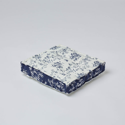 Quilted Cotton Block Cushion (Blue & White)