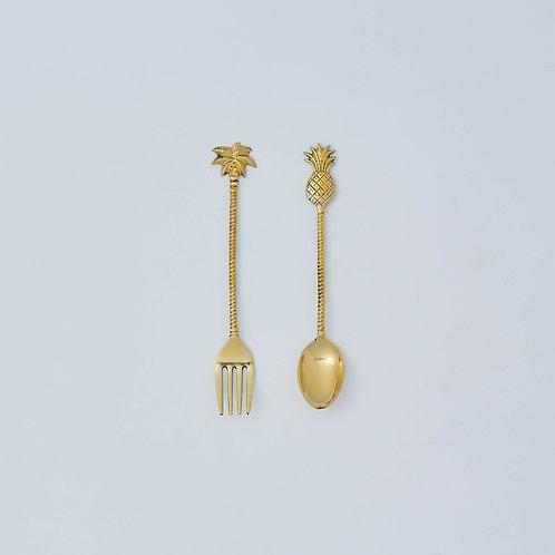 Pineapple & Palm Dessert Set (Gold)