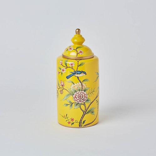 Tea Jar (Yellow Birds & Flowers)