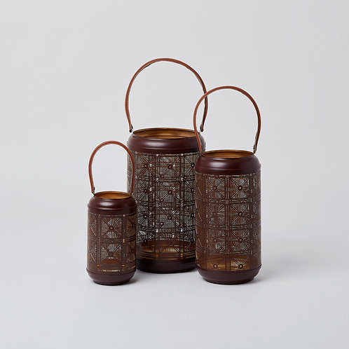 Cutwork Tealight Lantern (Gold & Coffee Brown)
