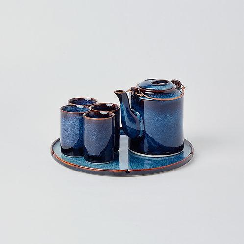 Round Teapot 6pc Set (Ocean Wave)
