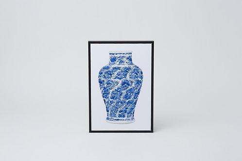 Framed Canvas Print (Blue & White Vase)