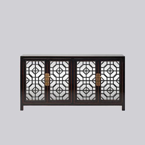 Lattice Sideboard with Mirror (Piano Black)