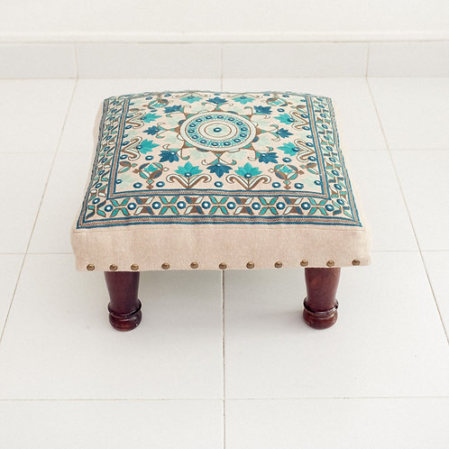 Embroidered Foot Stool (Blue)
