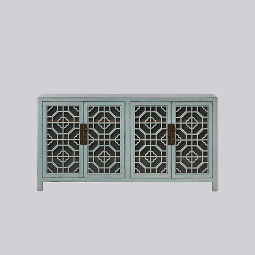 Lattice Sideboard with Frosted Glass (Pastel Green)