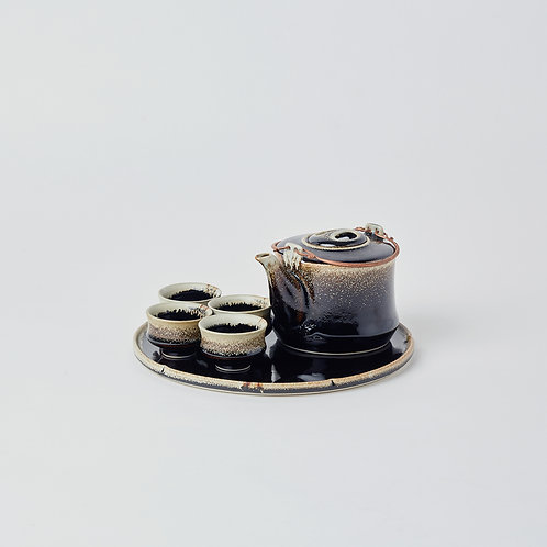 Hexagonal Teapot 6pc Set (Rabbit Fur)