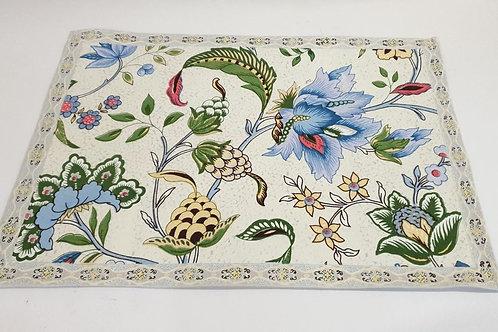 Cotton Placemat (Cream Flowers)