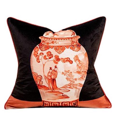 Velvet Cushion Cover (Red & White Vase)