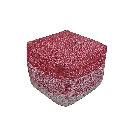 Block Pouf (Red & White)