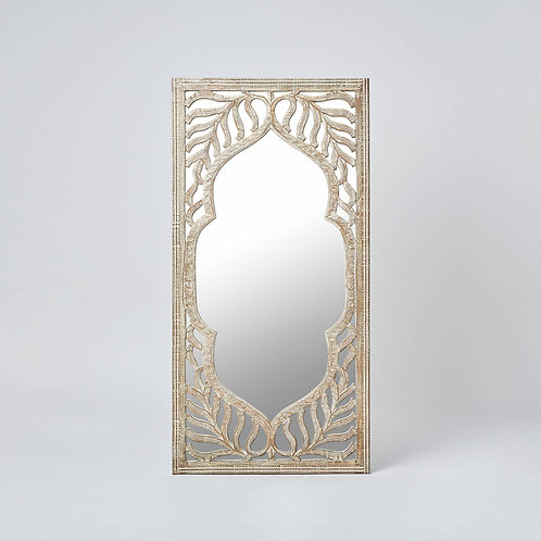 Wooden Carved Wall Mirror (Beige & Wood)