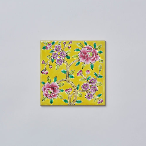 Hand-painted Porcelain Tile Trivet (Yellow Peony)