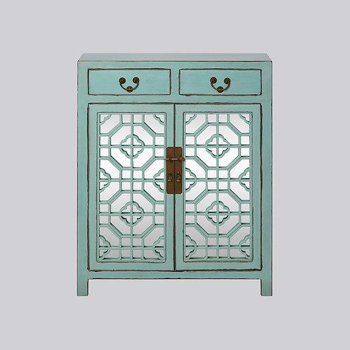 Lattice Cabinet with Mirror (Mint Antique)