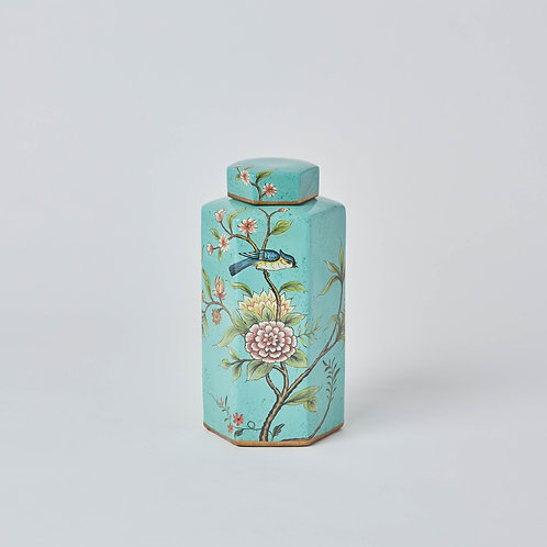 Hexagonal Tea Jar (Blue Birds & Flowers)