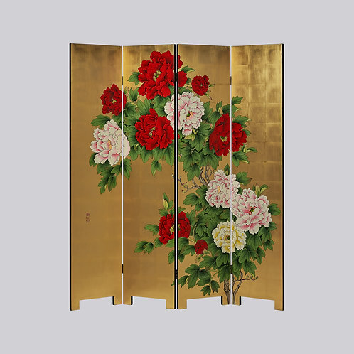 4 Panel Hand Painted Screen - Gold Peony