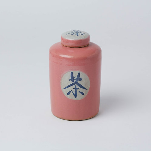 Painted Tea Jar (Pink Chinese Character)