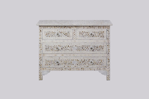 Mother of Pearl Inlay 4 Drawer Cabinet - White