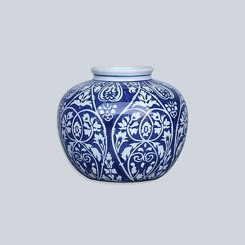 Melon Pot (Blue & White Flowers)