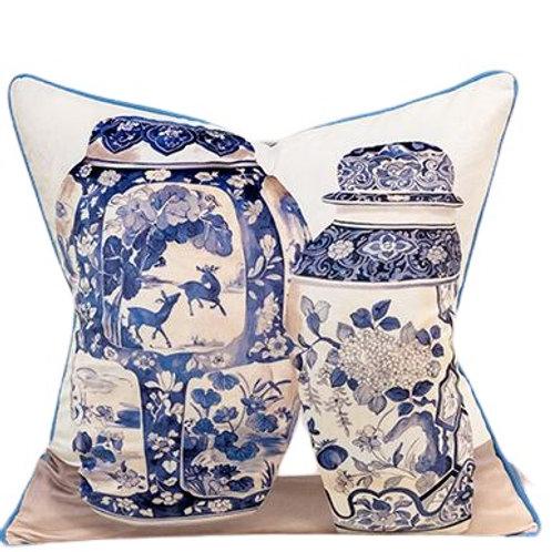 Velvet Cushion Cover (Blue & White Vases)
