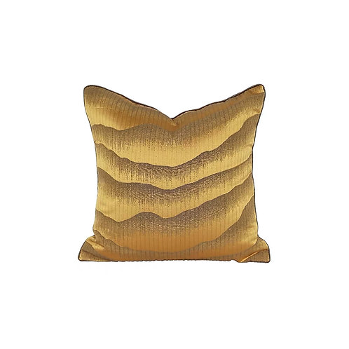 Faux Silk Cushion Cover (Yellow Abstract)