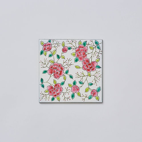 Hand-painted Porcelain Tile Trivet (Red Peony)