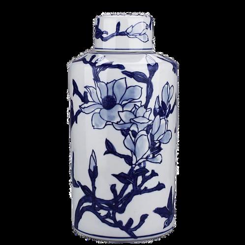 Round Tea Jar (Blue & White Flowers)