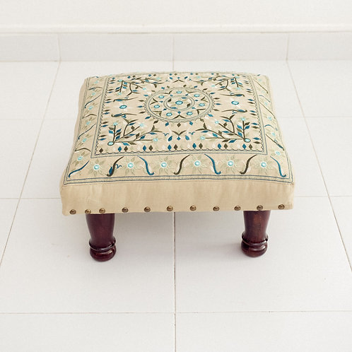 Embroidered Foot Stool (Cadet Blue)