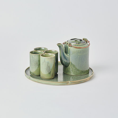 Round Teapot 6pc Set (Crystal Green)