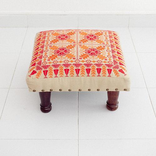 Embroidered Foot Stool (Orange)
