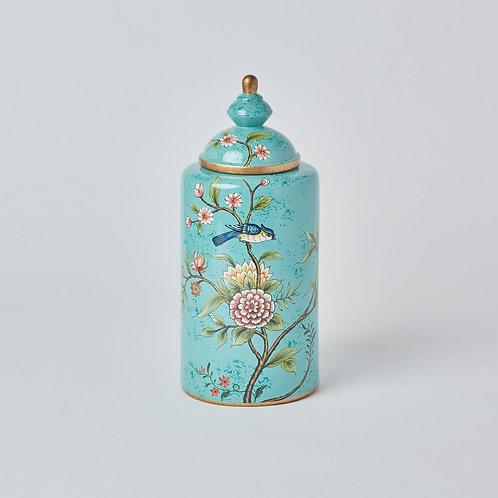 Tea Jar (Blue Birds & Flowers)