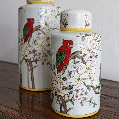 Hand-painted Tea Jar (Cream)