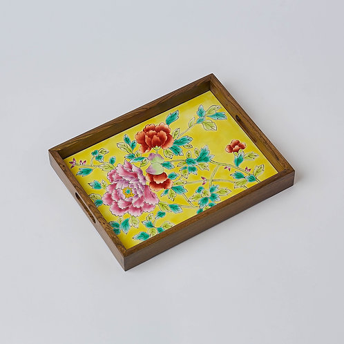 Hand-painted Porcelain Tray (Yellow Peony)