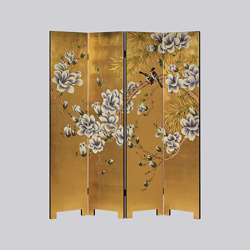 4 Panel Hand Painted Screen - Gold Purple Magnolia