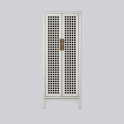 Tall Grid Lattice Cabinet (White Antique)